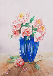 Roses in a blue vase by emalterre