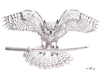 Owl and Katana by emalterre