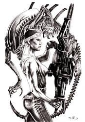 Jenette Vasquez and Alien by emalterre