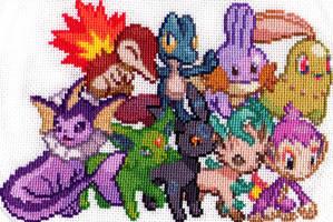 Shiny Pokemon Group 1 - Cross Stitch by shingorengeki