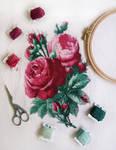 Roses Cross Stitch Photo