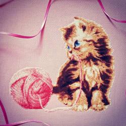 Vintage Kitten - Cross Stitch Pattern