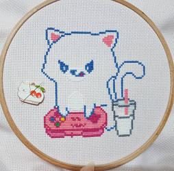 Gamer Cat - Cross Stitch WIP