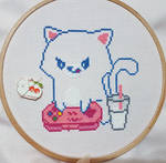 Gamer Cat - Cross Stitch WIP by shingorengeki