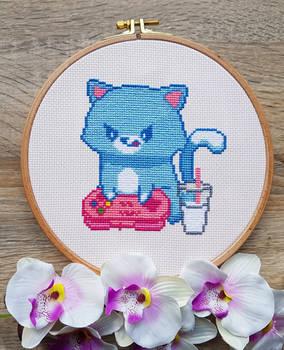 Gamer Cat - Cross Stitch