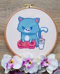 Gamer Cat - Cross Stitch by shingorengeki