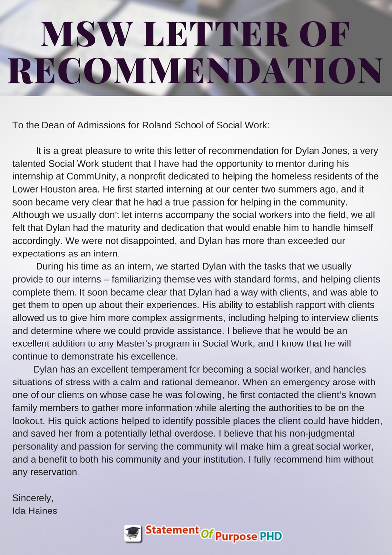 Sample Msw Letter Of Recommendation By