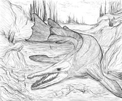Rhynia: Riesenkriechhecht out of water