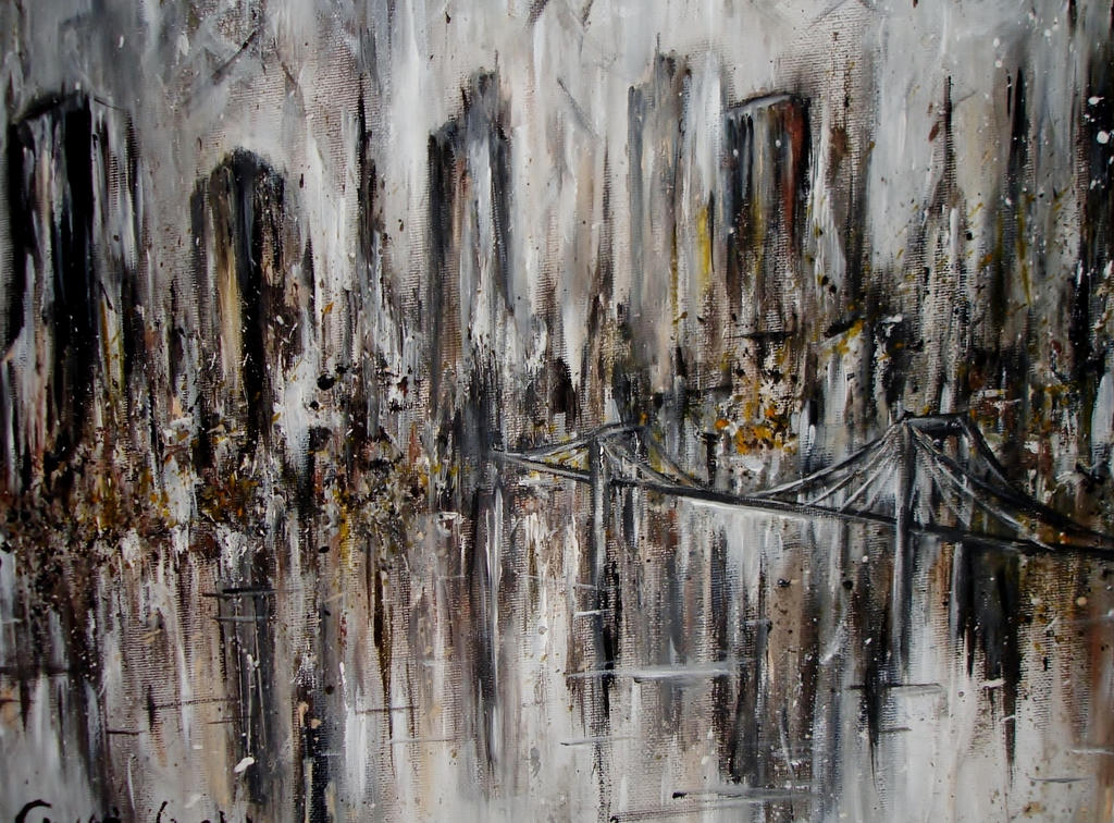 Abstract painting new york skyline acrylic by for New york skyline painting