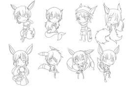 Eeveelution Gijinka - Line Art by MichisGraphics