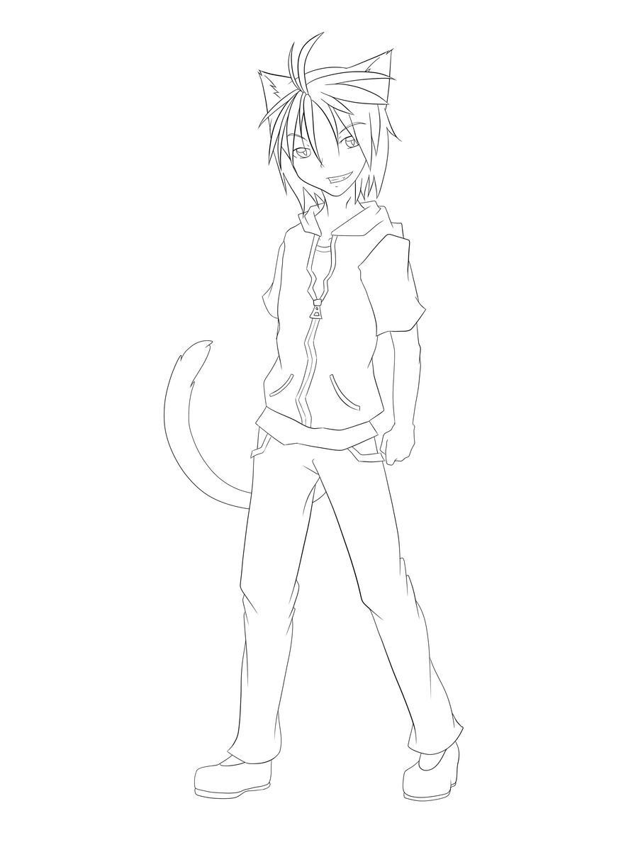 Line Drawing Boy : Neko boy line art by michiscoolart on deviantart