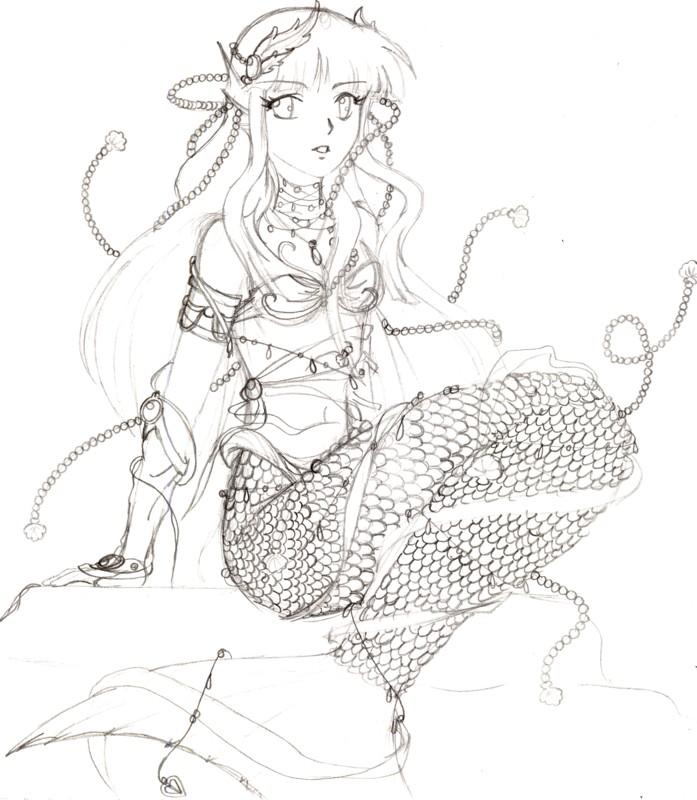 Mermaid Hinata sketch by LilyAngelPhoenix