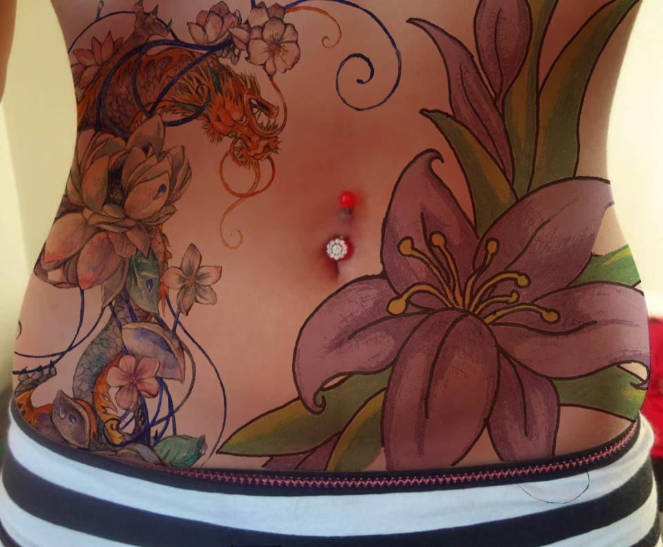 anika stomach tattoo by wavygoonam on deviantart. Black Bedroom Furniture Sets. Home Design Ideas