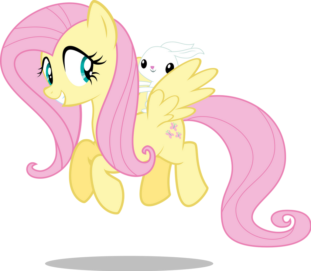 MLP: Fluttershy and Angel flying by mewtwo-EX