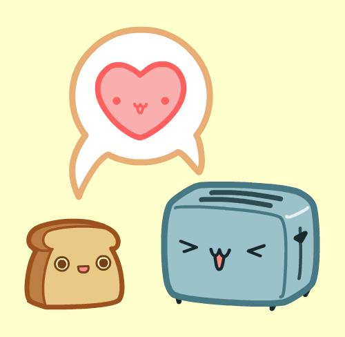 Kawaii Toast and Toaster Love by nickbachman