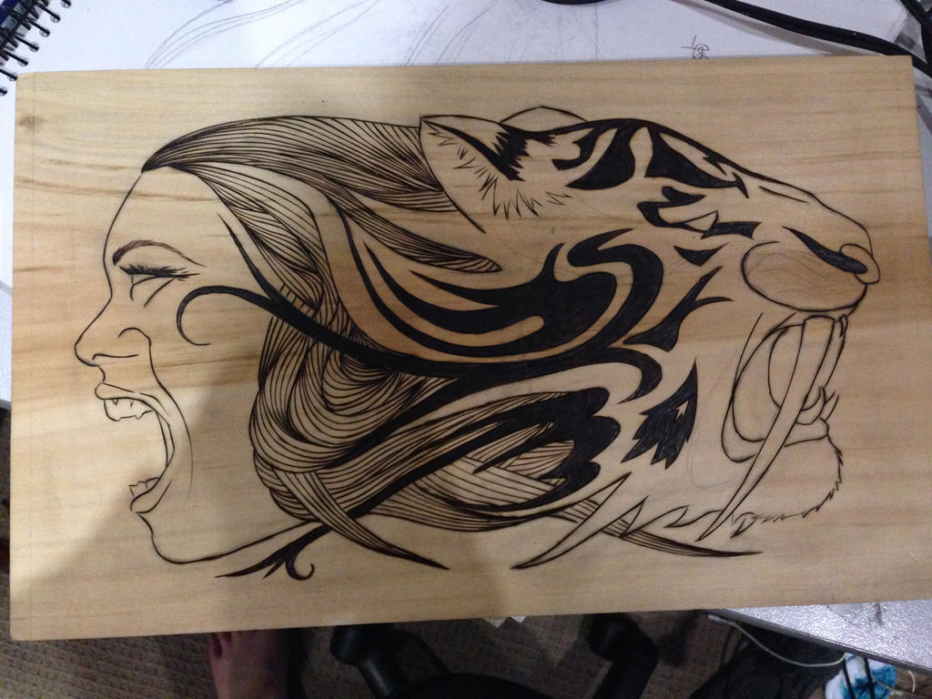 Wood Burn Design 1/2 Complete By DC Pyrography ...