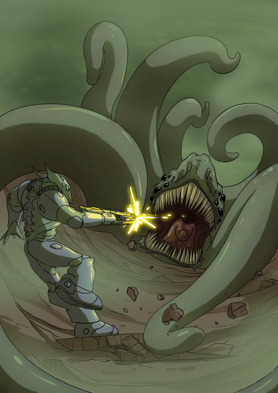 Man versus Tentacle Beast by Morgoth883