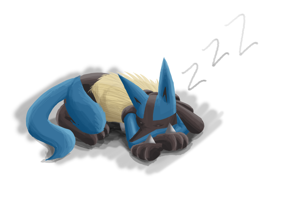 Sleeping Lucario by Dogwhitesector