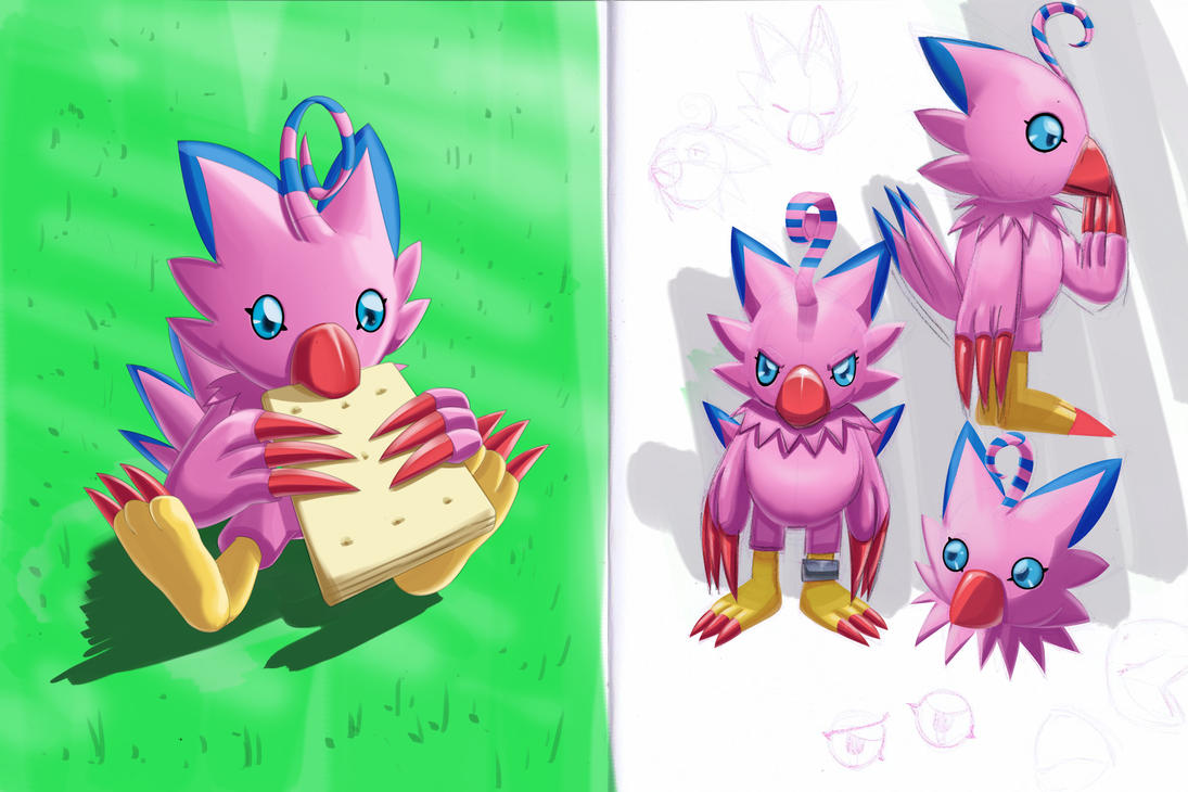 Biyomon sketches by Dogwhitesector