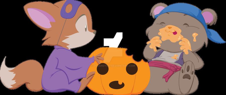 halloween fox and bear by zeranote17