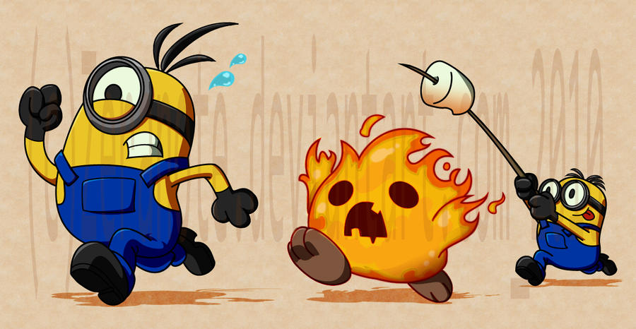 minions pumpkin fire by zeranote17