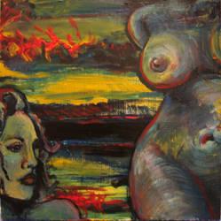 Blue Woman and Landscape by GracefulSadoyama