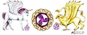 Unicorn and Griffin Celtic Knot Triskele Symbol