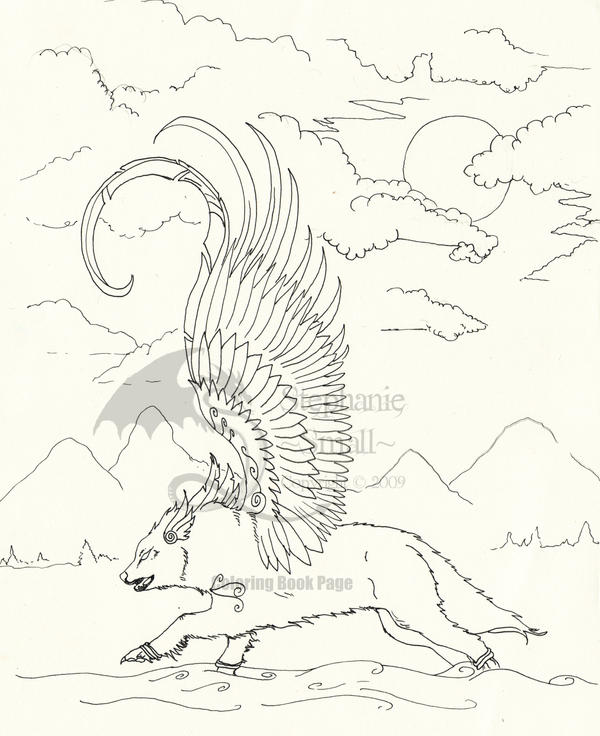 baby winged wolf coloring pages - photo#20