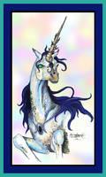 Sapphire Glory Abulus the Unicorn Blue Gold Horn by StephanieSmall