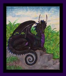 Dragon Reptile Monster beast black animal purple by StephanieSmall