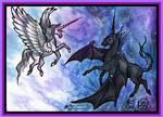 White Unicorn Pegasus Black Pegacorn Bat winged