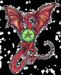 Dragon red reptile monster beast green Pentagram