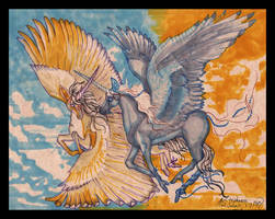 Winged Unicorn Horse Pony Equine Equus Wings Blue by StephanieSmall