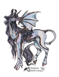 Dracilla Celtic Dragon Unicorn Deer Horse Pony BW