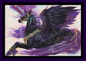 Malaba Black Unicorn Purple Pegasus Pegacorn Goth by StephanieSmall