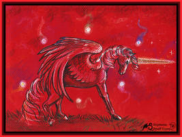 Unicorn Horse Red Pony Equine Equestrian Motes by StephanieSmall