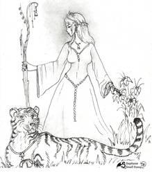 Tiger's Lady Woman girl female cat feline stripes