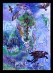 Dream Animals Unicorn Dragon Pegasus Panther blue