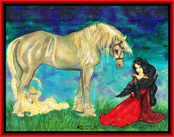 Princess Girl Red Dress Raven Gothic Horse Pony by StephanieSmall