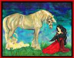 Princess Girl Red Dress Raven Gothic Horse Pony