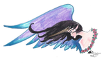 Angel Unicorn Winged Woman Girl Purple Black Roses by StephanieSmall