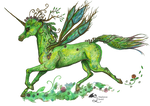 Verdasha Unicorn Green Nature Spring Fairy Flower