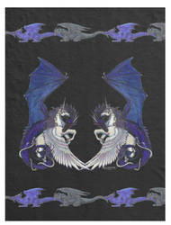 Black Unicorn and Dragon Blanket by StephanieSmall