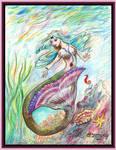 Mermaid Ocean Teal Pink Seahorse Starfish Fish Sea