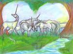 Heart Unicorn Herd Grace Forest Cute Horses Magica