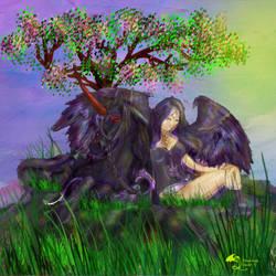 Tariel and Malcarnus Resting under Magical Tree by StephanieSmall