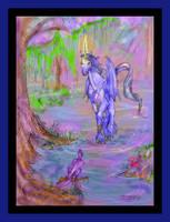 Fendah Wyr Vangard Stallion Blue BatWinged Unicorn by StephanieSmall