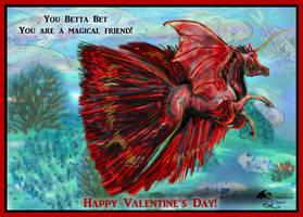 Betta Winged Unicorn Bat Horse Valentine by StephanieSmall