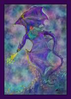 Angel Riding Dragon Ocean Unicorn Waves Horse Girl by StephanieSmall