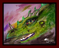 Green Dragon Red Eye Drake Monster Beast Magical by StephanieSmall